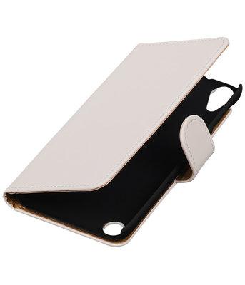 Wit Effen booktype cover voor Hoesje voor HTC Desire 530