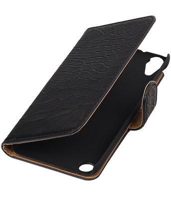 Zwart Krokodil booktype cover voor Hoesje voor HTC Desire 530