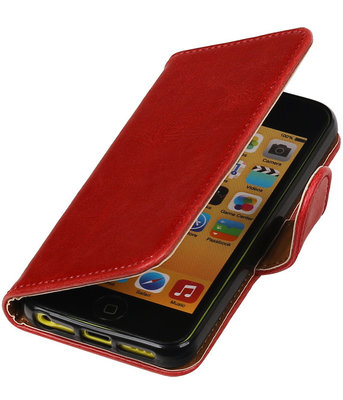 Rood Pull-Up PU booktype wallet cover hoesje voor Apple iPhone SE