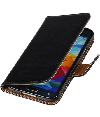 Zwart Pull-Up PU booktype wallet cover hoesje voor Samsung Galaxy S5