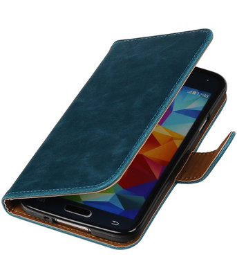 Blauw Pull-Up PU booktype wallet cover hoesje voor Samsung Galaxy S5