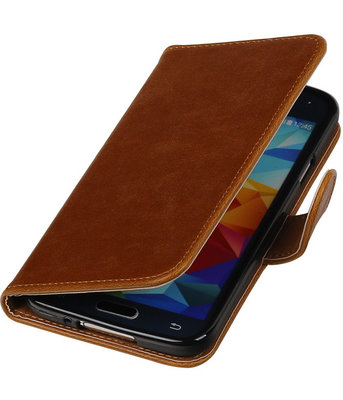 Bruin Pull-Up PU booktype wallet cover hoesje voor Samsung Galaxy S5