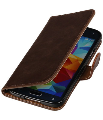 Mocca Pull-Up PU booktype wallet cover hoesje voor Samsung Galaxy S5
