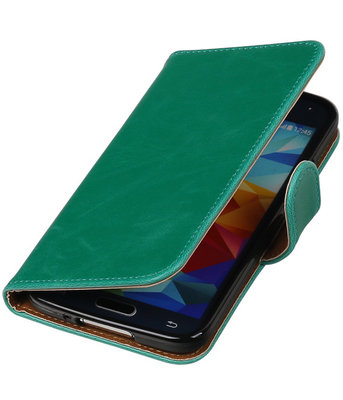 Groen Pull-Up PU booktype wallet cover hoesje voor Samsung Galaxy S5