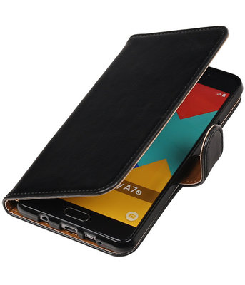Zwart Pull-Up PU booktype wallet cover hoesje voor Samsung Galaxy A7 2016
