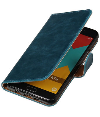 Blauw Pull-Up PU booktype wallet cover hoesje voor Samsung Galaxy A7 2016