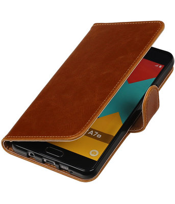 Bruin Pull-Up PU booktype wallet cover hoesje voor Samsung Galaxy A7 2016