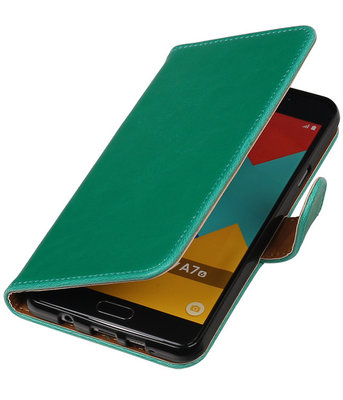 Groen Pull-Up PU booktype wallet cover hoesje voor Samsung Galaxy A7 2016