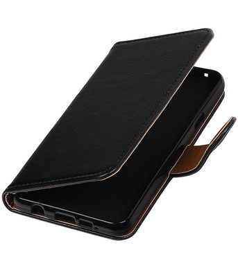 Zwart Pull-Up PU booktype wallet cover hoesje voor Samsung Galaxy A3 2016