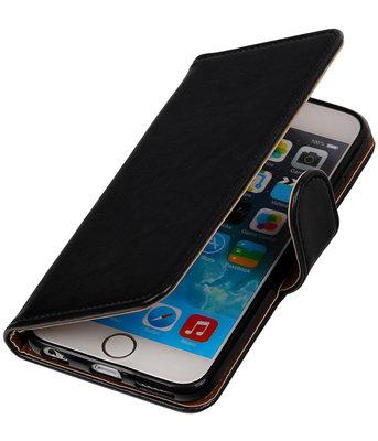 Zwart Pull-Up PU booktype wallet cover hoesje voor Apple iPhone 6 Plus / 6s Plus