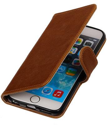 Bruin Pull-Up PU booktype wallet cover hoesje voor Apple iPhone 6 Plus  / 6s Plus