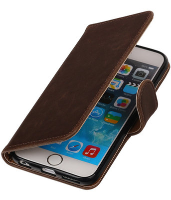 Mocca Pull-Up PU booktype wallet cover hoesje voor Apple iPhone 6 Plus / 6s Plus