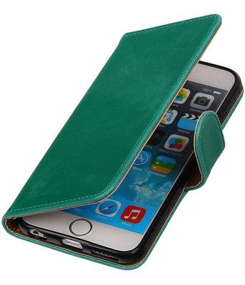 Groen Pull-Up PU booktype wallet cover voor Hoesje voor Apple iPhone 6 Plus / 6s Plus