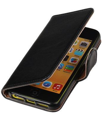 Zwart Pull-Up PU booktype wallet cover voor Hoesje voor Apple iPhone 5C