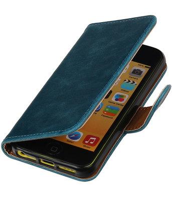 Blauw Pull-Up PU booktype wallet cover hoesje voor Apple iPhone 5C