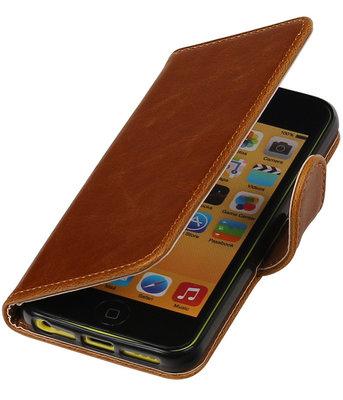 Bruin Pull-Up PU booktype wallet cover hoesje voor Apple iPhone 5C