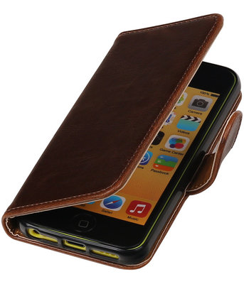 Mocca Pull-Up PU booktype wallet cover voor Hoesje voor Apple iPhone 5C