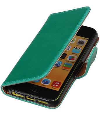 Groen Pull-Up PU booktype wallet cover voor Hoesje voor Apple iPhone 5C