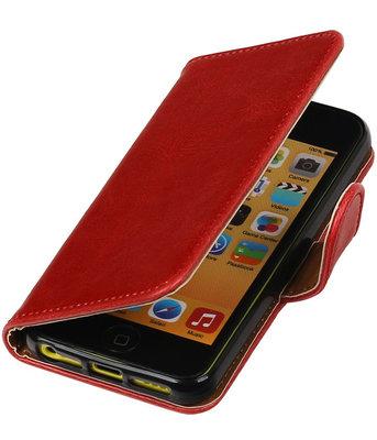 Rood Pull-Up PU booktype wallet cover voor Hoesje voor Apple iPhone 5C