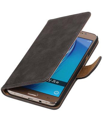 Grijs Hout booktype cover voor Hoesje voor Samsung Galaxy J5 2016