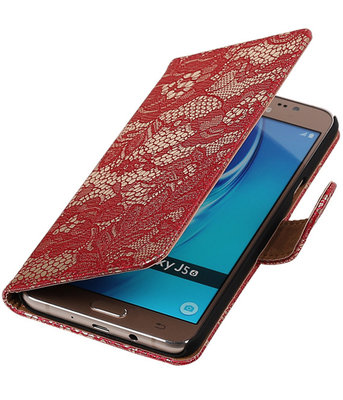 Rood Lace booktype cover voor Hoesje voor Samsung Galaxy J5 2016