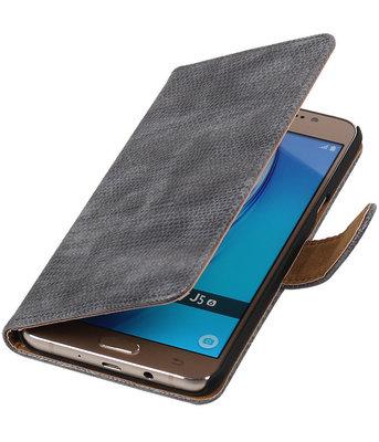 Grijs Mini Slang booktype cover hoesje voor Samsung Galaxy J5 2016