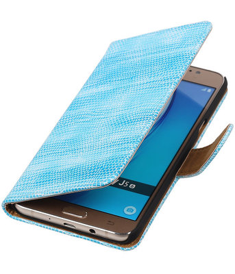 Turquoise Mini Slang booktype cover hoesje voor Samsung Galaxy J5 2016