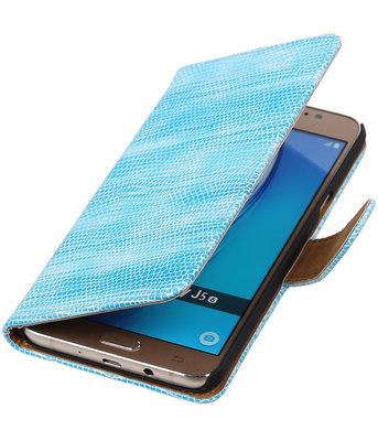 Turquoise Mini Slang booktype cover voor Hoesje voor Samsung Galaxy J5 2016