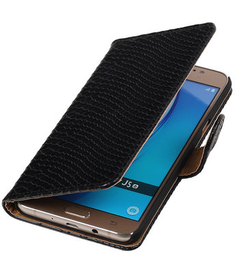 Zwart Slang booktype cover hoesje voor Samsung Galaxy J5 2016