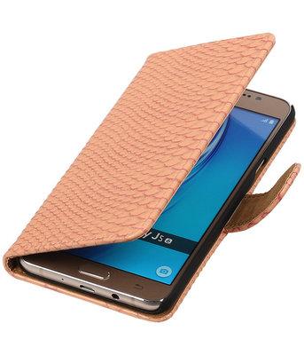 Roze Slang booktype cover hoesje voor Samsung Galaxy J5 2016