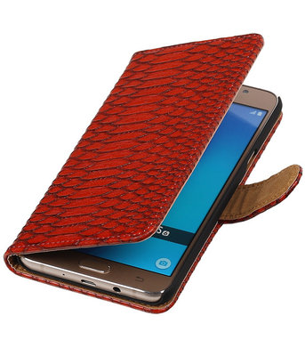 Rood Slang booktype cover hoesje voor Samsung Galaxy J5 2016