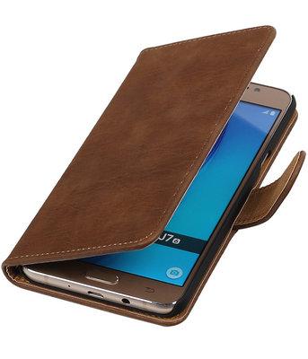 Bruin Hout booktype cover voor Hoesje voor Samsung Galaxy J7 2016