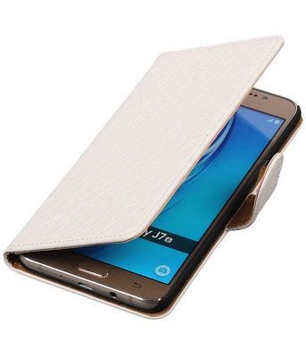 Wit Krokodil booktype cover voor Hoesje voor Samsung Galaxy J7 2016