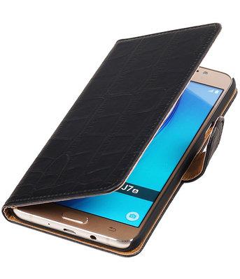Zwart Krokodil booktype cover voor Hoesje voor Samsung Galaxy J7 2016