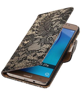 Zwart Lace booktype cover voor Hoesje voor Samsung Galaxy J7 2016