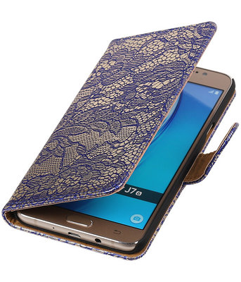 Blauw Lace booktype cover hoesje voor Samsung Galaxy J7 2016