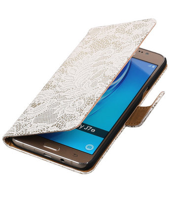 Wit Lace booktype cover hoesje voor Samsung Galaxy J7 2016