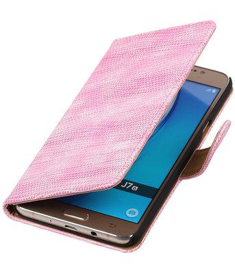 Roze Mini Slang booktype cover voor Hoesje voor Samsung Galaxy J7 2016