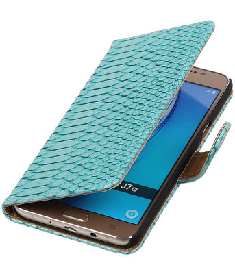 Turquoise Slang booktype cover hoesje voor Samsung Galaxy J7 2016