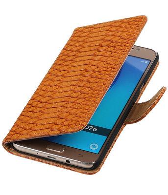 Bruin Slang booktype cover voor Hoesje voor Samsung Galaxy J7 2016