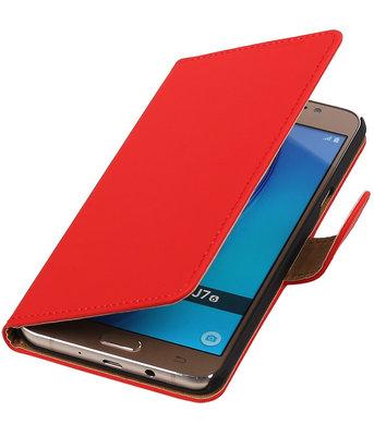 Rood Effen booktype cover voor Hoesje voor Samsung Galaxy J7 2016