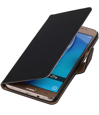 Zwart Effen booktype cover voor Hoesje voor Samsung Galaxy J7 2016