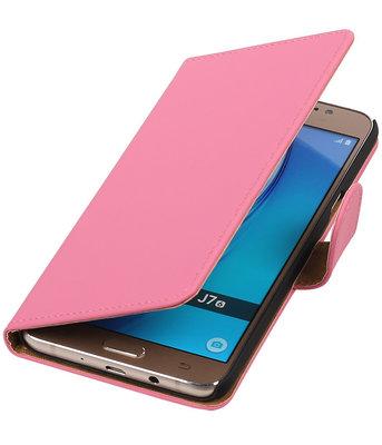 Roze Effen booktype cover voor Hoesje voor Samsung Galaxy J7 2016