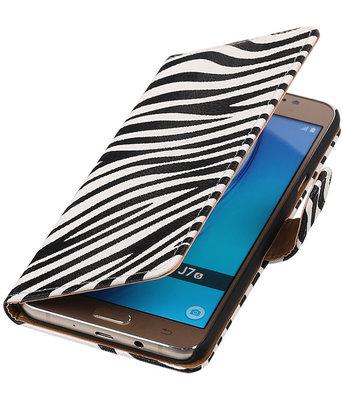 Zebra booktype cover voor Hoesje voor Samsung Galaxy J7 2016