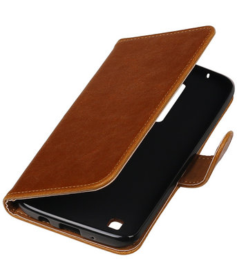 Bruin Pull-Up PU booktype wallet cover hoesje voor LG K7