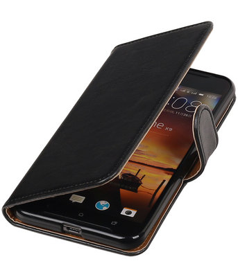 Zwart Pull-Up PU booktype wallet cover hoesje voor HTC One X9