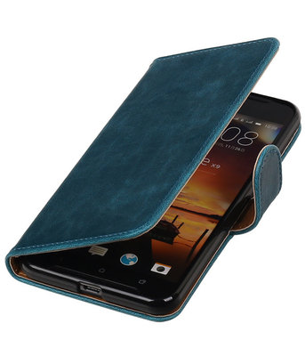 Blauw Pull-Up PU booktype wallet cover hoesje voor HTC One X9