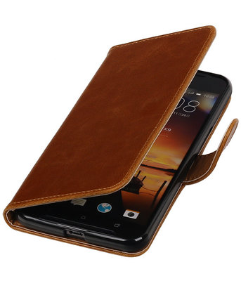 Bruin Pull-Up PU booktype wallet cover hoesje voor HTC One X9