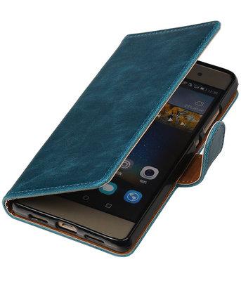 Blauw Pull-Up PU booktype wallet cover hoesje voor Huawei P8 Lite