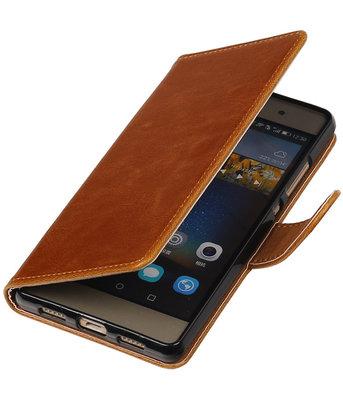 Bruin Pull-Up PU booktype wallet cover voor Hoesje voor Huawei P8 Lite